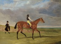 The Hon. Edward Petre's Bay Filly 'Matilda', Winner of the 1827 St. Leger, with James Robinson up and Trainer Jonathan Scott